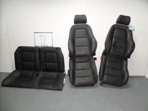 Audi TT 1998-2006 σέτ καθίσματα εμπρός-πίσω με airbag μαύρα (δερμάτινα-3 ταπετσαρίες)