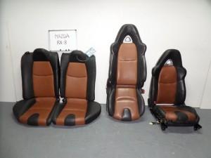 Mazda RX8 2003-2012 σέτ καθίσματα εμπρός-πίσω με airbag μαύρα-καφέ (δερμάτινα-4 ταπετσαρίες)