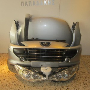 Peugeot 307 2005-2008 μπροστινή μετώπη κομπλέ ασημί (καπώ-2  φτερά-2 φανάρια-μετώπη-ψυγεία-προφυλακτήρας με προβολείς-τραβέρσα)