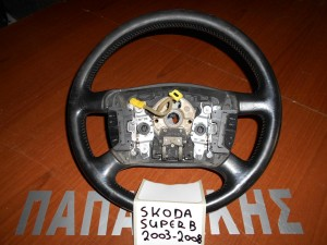 Skoda Super B 2003-2008 βολάν τιμονιού μαύρο με χειριστήρια