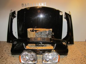 Jeep Grand Cherokee 2005-2008 μαυρη καπο 2 φτερα προφυλακτηρας με αισθητηρες και προβολεις ψυγεια κομπλε 2 φαναρια κουμπασα καπο