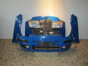 Fiat Panda 2003-2009 μούρη μπλε: καπό- 2 φτερά- 2 φανάρια- προφυλακτήρας- μετώπη- ψυγεία κομπλέ diesel