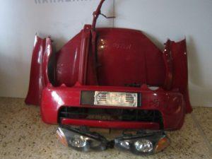 Honda HRV 1999-2001 μούρη κόκκινη: καπό- 2φτερά- 2φανάρια- προφυλακτήρας- τραβέρσα προφυλακτήρα- τραβέρσα άνω- ψυγεία κομπλέ